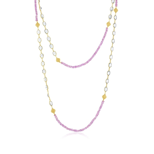 SLOANE STREET Pink Sapphire & White Topaz Necklace photo