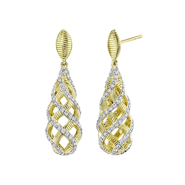 SLOANE STREET Small Basket Diamond Earrings photo