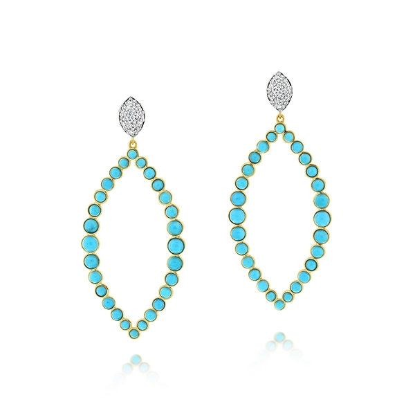 SLOANE STREET Turquoise & Diamond Hoops photo