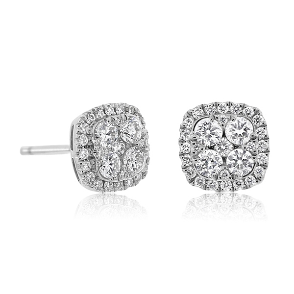 Square Diamond Cluster Stud Earrings photo