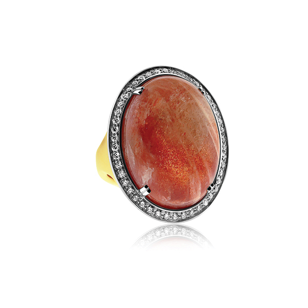 Sunstone & Diamond Ring  photo
