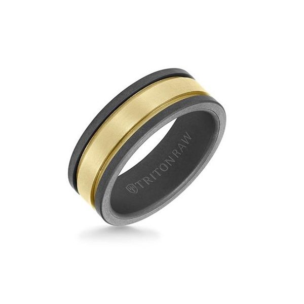 TRITON Raw Tungsten & Gold Wedding Band photo