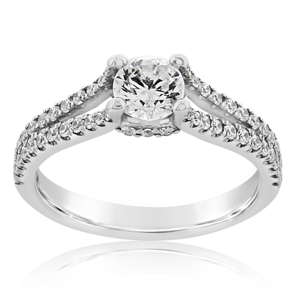 Two-Row Diamond Engagement Ring photo