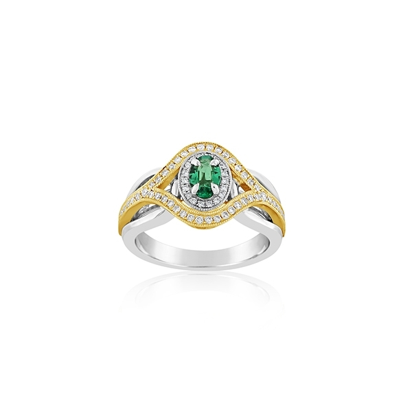 Two-Tone Emerald & Diamond Ring photo