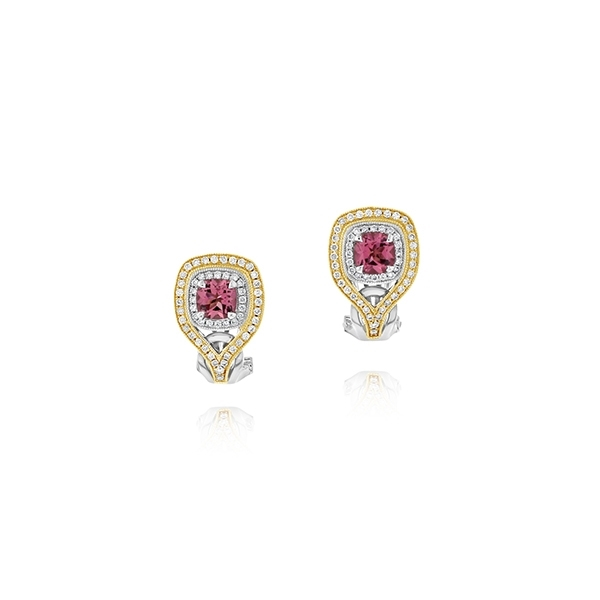 Two-Tone Pink Tourmaline & Diamond Earrings photo