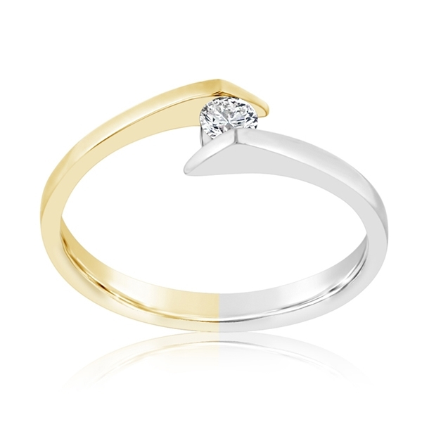 Two Toned Diamond Crossover Ring photo
