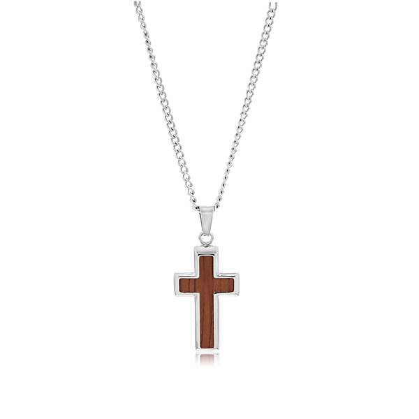 Wood Inlay Cross Pendant photo
