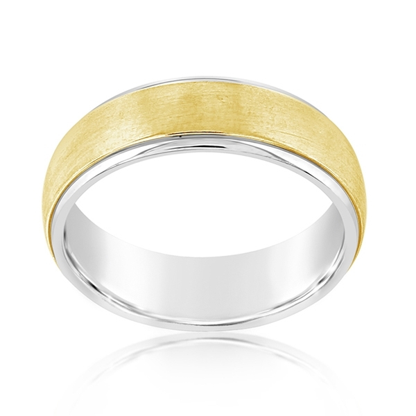Yellow & White Gold Comfort Fit Wedding Band photo