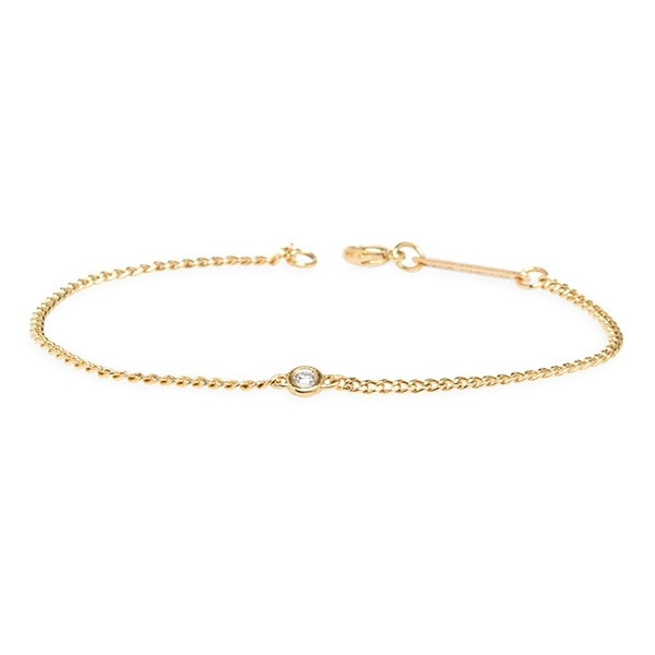 ZOE CHICCO Medium Curb Chain Floating Diamond Bracelet photo